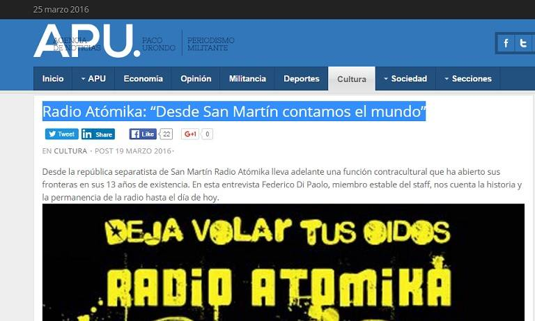 La agencia de noticias Paco Urundo,más conocida como APU, publica esta nota a Federico Di Paolo sobre el pasado y presente de nuestra Radio Atomika. Por Boris Katunaric http://agenciapacourondo.com.ar/cultura/18907-radio-atomika-desde-san-martin-contamos-el-mundo  […]